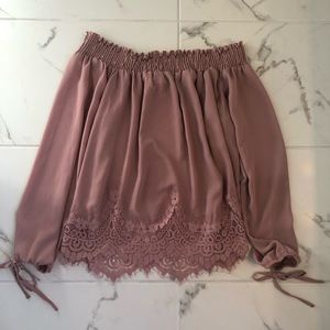 Blush Pink Blouse with Lace Detailing